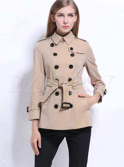 Khak Double Breasted Slim Trench Coat