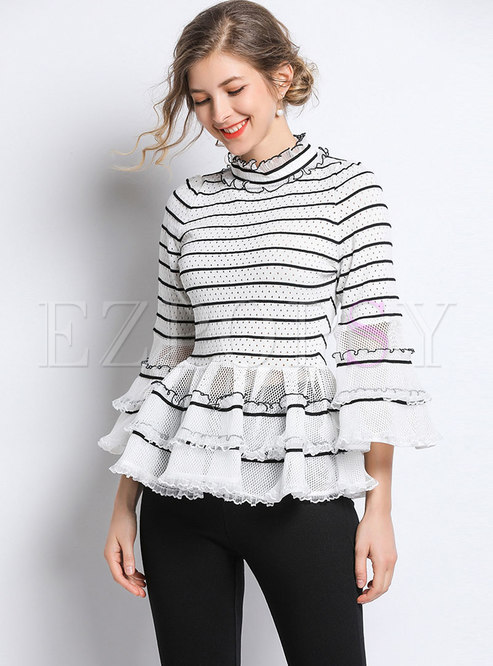 Striped Splicing Hollow Out Flare Sleeve Falbala Sweater