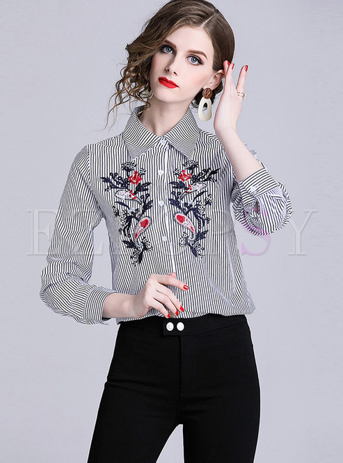 Lapel Long Sleeve Embroidered Striped Blouse