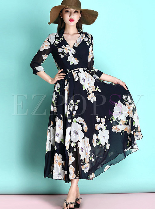Bohemian V-neck Print Waist Big Hem Maxi Dress