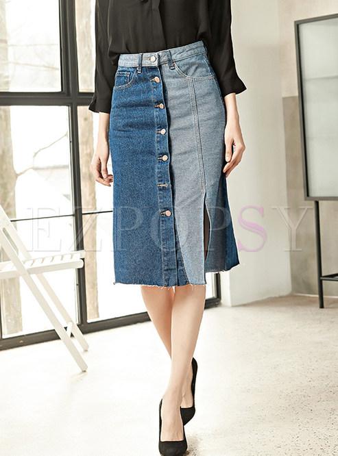 Stylish Color-blocked Single-breasted Slit Denim Skirt