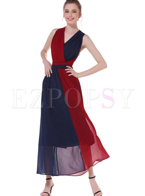 Color-blocked V-neck Sleeveless Waist Big Hem Maxi Dress