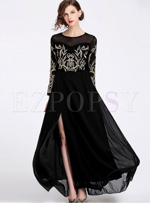 Fashion Mesh O-neck Splicing Chiffon Slit Maxi Dress