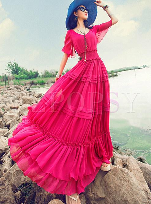 Solid Color O-neck Short Sleeve Elastic Waist Maxi Dress