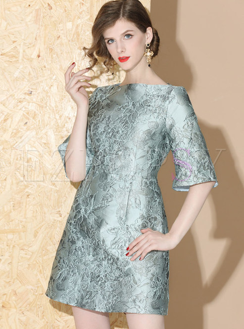 Elegant Jacquard Half Sleeve Slim Skater Dress