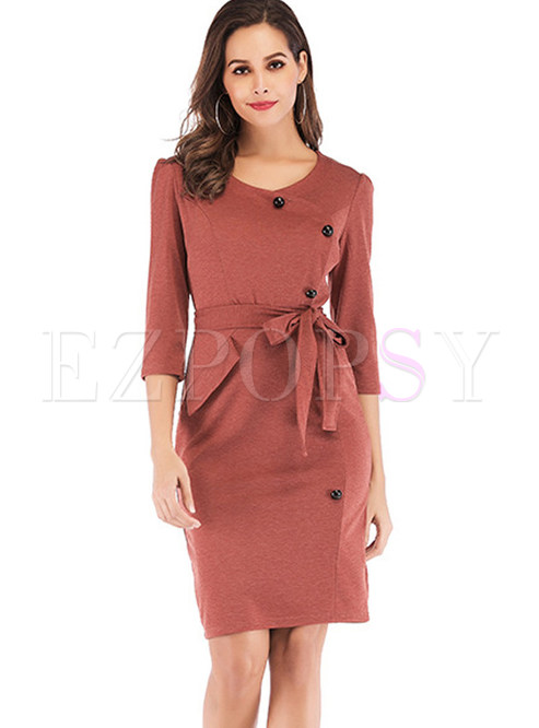 O-neck Three Quarters Sleeve Bowknot Waist Mini Slim Dress