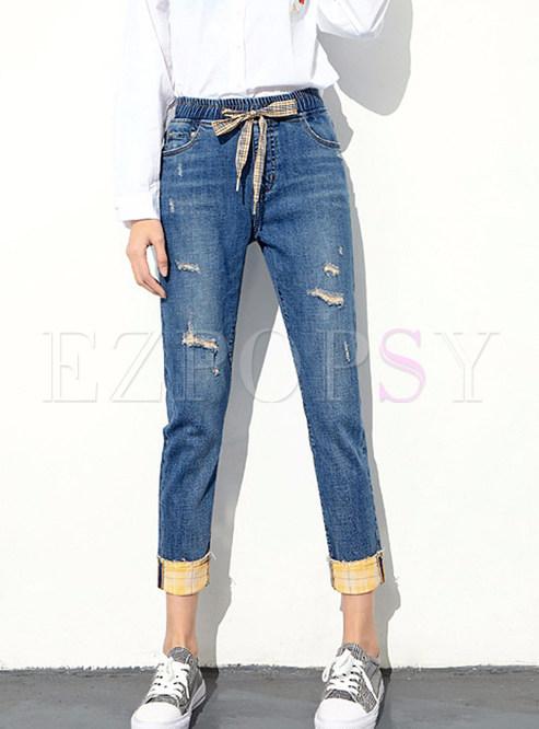 Elastic Waist Plaid Tied Color-blocked Denim Pants