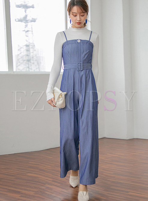 Fashion Slash Neck Striped Sling Wide Leg Jumpsuits