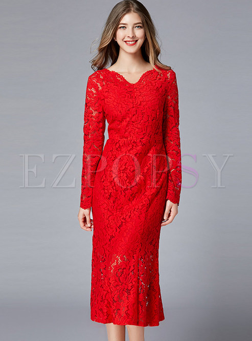 Solid Color V-neck Long Sleeve Bodycon Banquet Dress