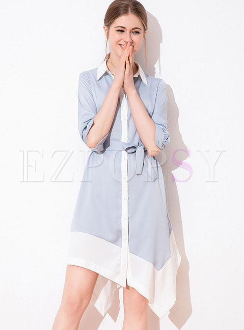 Stylish Color-blocked Lapel Belted Single-breasted Asymmetric Dress