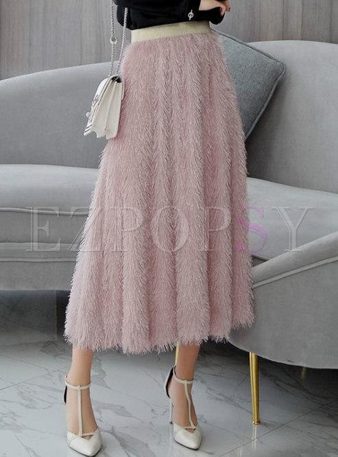 Pink Elastic Waist Tassel A Line Skirt