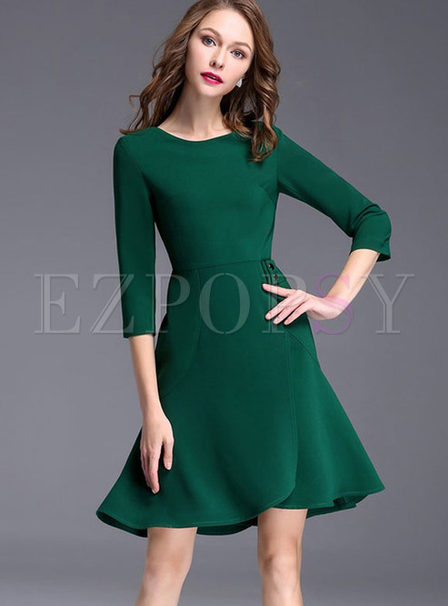 Casual Pure Color O-neck Three Quarter Sleeve A-line Skater Dress