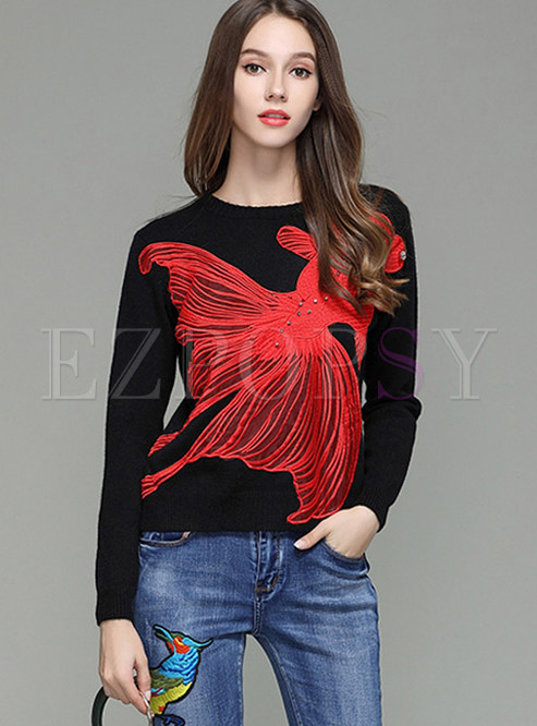 Bead Embroidered Crew Neck Long Sleeve Sweater
