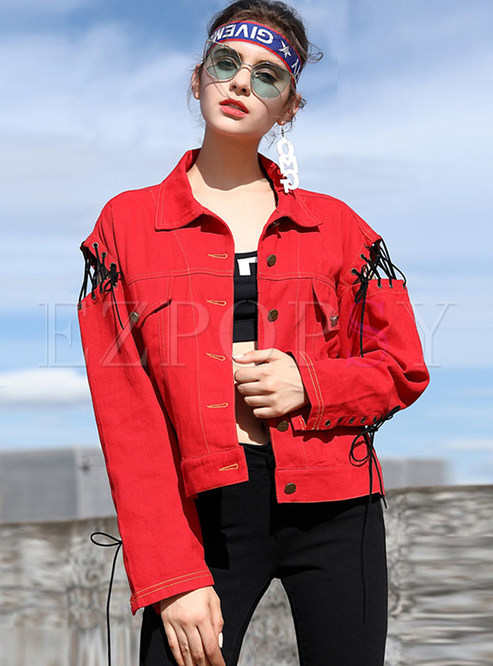 Casual Tied Hollow Letter Pattern Coat
