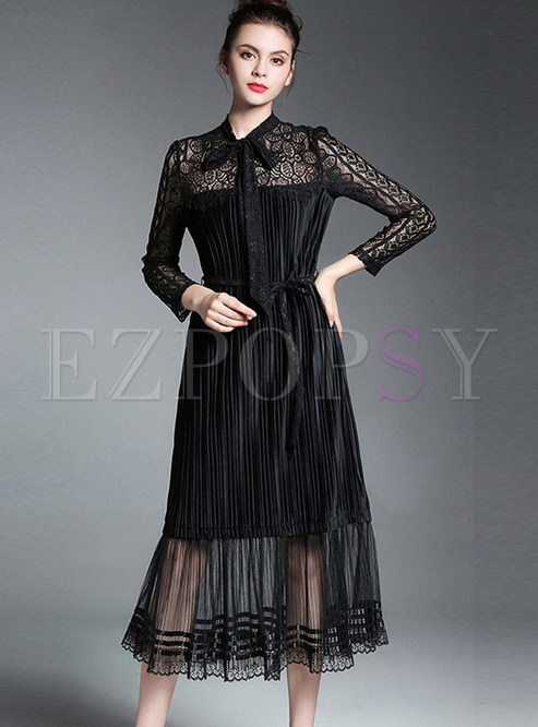 f02bc4509cc5 Skater Dresses.   Black Lace Hollow Out Embroidered Long Sleeve ...