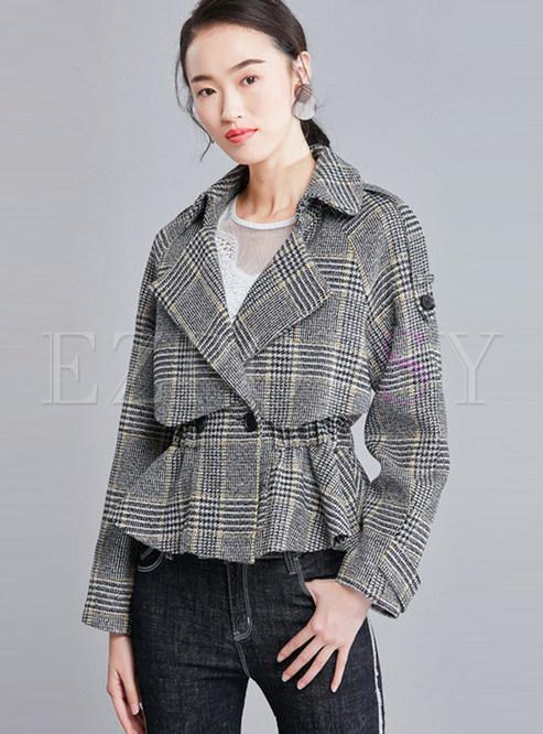 Plaid Notched Waist Falbala Short Coat