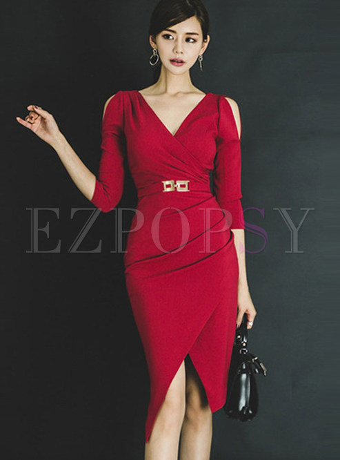a8aeebe21318 Bodycon Dresses.   Sexy Red V-neck Off Shoulder Irregular Sheath Dress