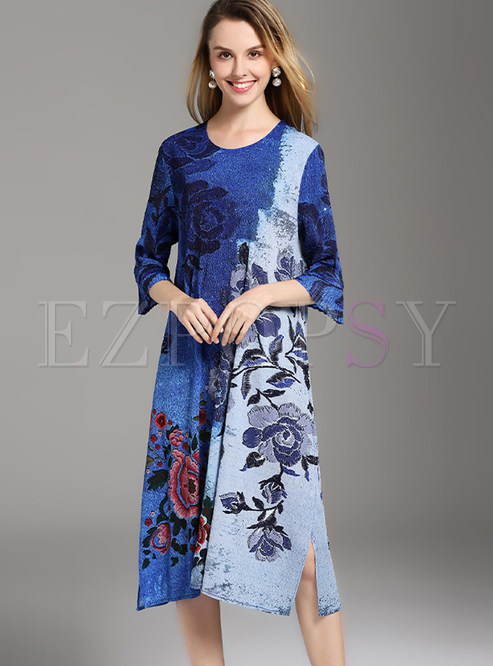 Ethnic Color-blocked O-neck Print Loose Shift Dress