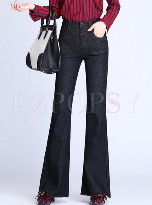 Trendy High Waist Denim Slim Rough Selvedge Flare Pants