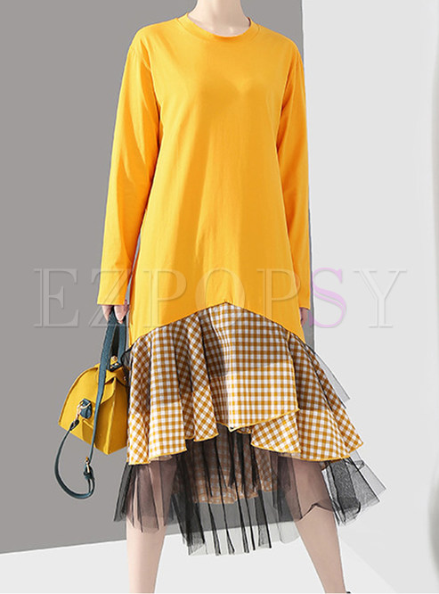 O-neck Long Sleeve Splicing Plaid Mesh Mermaid Dress