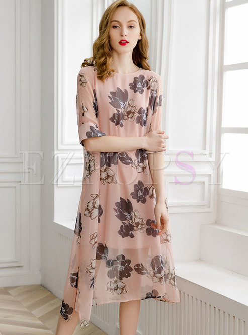 Trendy Chiffon Print Half Sleeve Slit Shift Dress