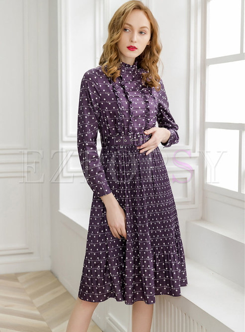 Polka Dot Stand Collar Belted Pleated Skater Dress