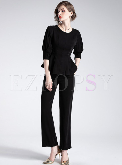 Pure Color Three Quarters Sleeve Slim Top & Straight Pants