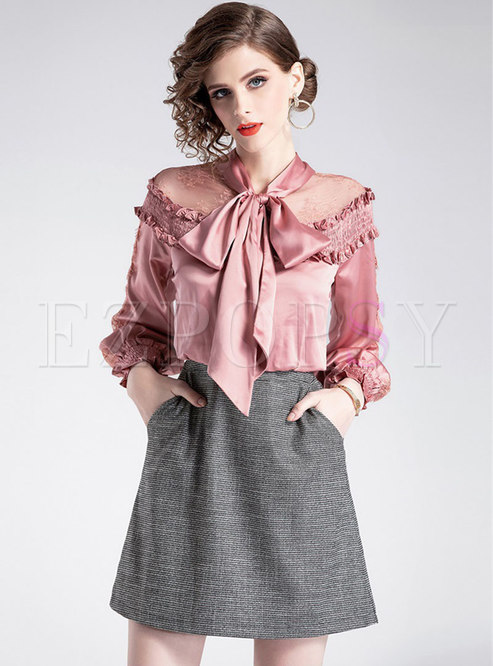 Elegant Splicing Tie-collar See-though High Waist Skater Dress