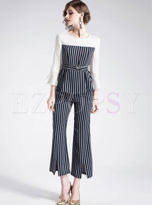 Striped Splicing Flare Sleeve Belted Top & Striped Slit Flare Pants