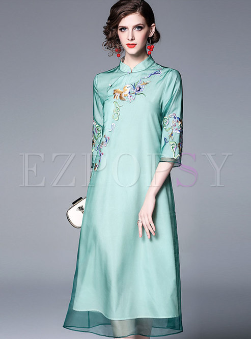 Vintage Mandarin Collar Embroidered Shift Dress