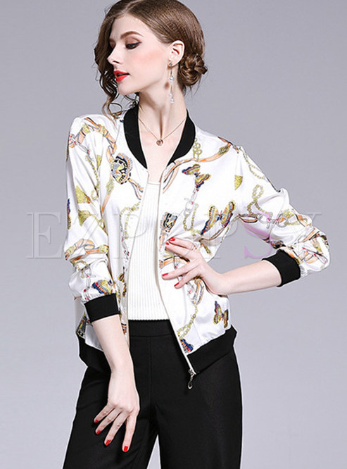 Color-blocked V-neck Long Sleeve Zippered Print Coat