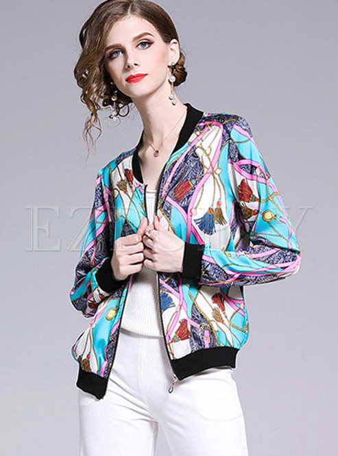 V-neck Long Sleeve Zippered Short Print Jacket