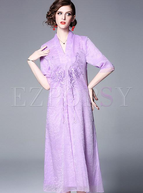 Solid Color V-neck Half Sleeve Loose Shift Dress