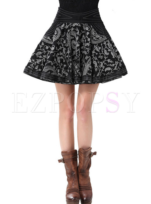 Vintage High Waist Embroidered Cotton Mini Skirt