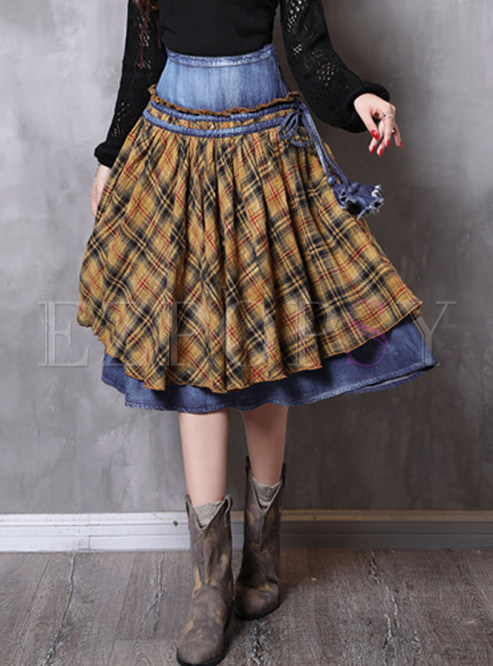 Retro COLO Plaid Big Hem Denim Knee-length Skirt