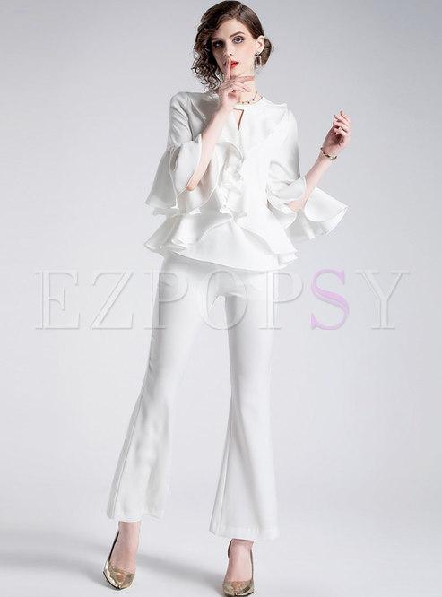 Pure Color Flare Sleeve Falbala Top & Slim Flare Pants