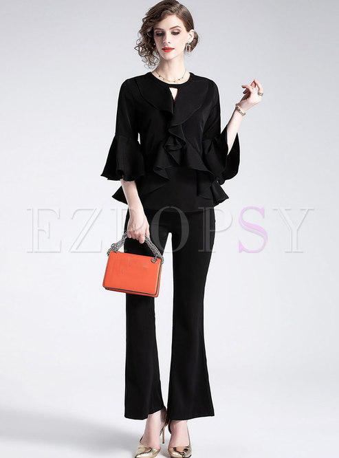 Solid Color Flare Sleeve Falbala Top & Slim Flare Pants