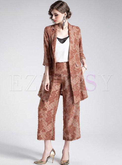 Print Notched Side-slit Belted Coat & Ankle-length Wide Leg Pants
