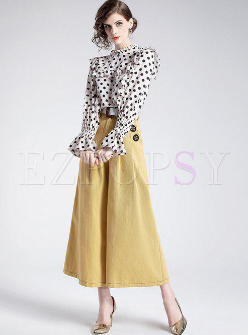 01c4d09961 Two-piece Outfits.   Polka Dot Flare Sleeve Falbala Blouse   Belted Wide  Leg Pants