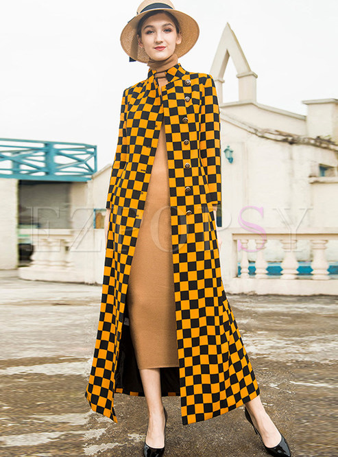 Stylish Color-blocked Plaid Single-breasted Trench Coat