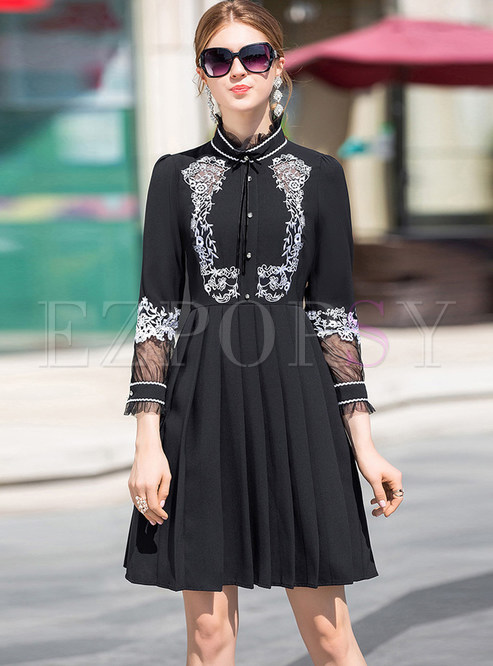 Fashion Hollow Out Embroidered Pleated Skater Dress