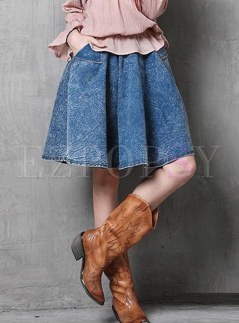 Retro High Waist Big Hem Denim Pleated Skirt