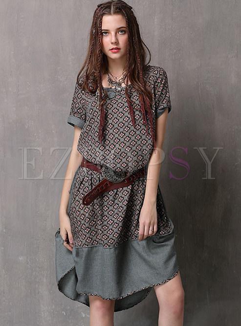 Retro O-neck Short Sleeve Print Splicing Shift Dress