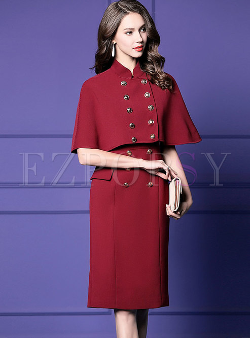 43f451730a3f0 Two-piece Outfits.   Solid Color Sleeveless Sheath Dress   Stand Collar  Double-breasted Cape