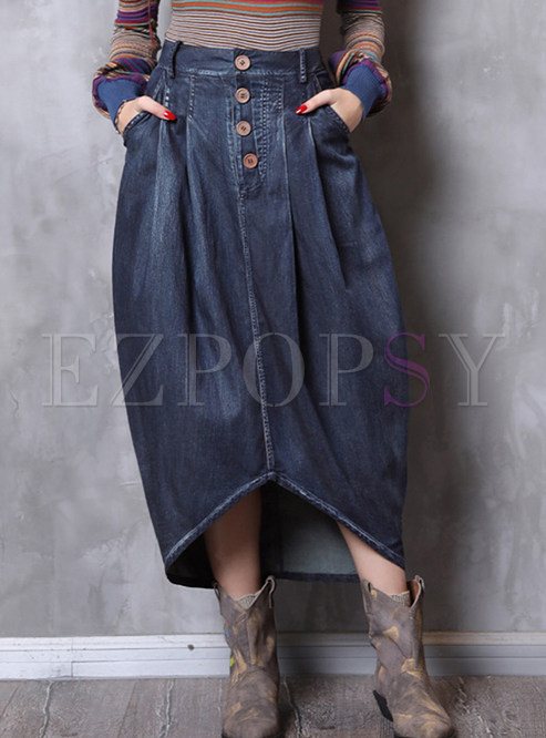 Fashion High Waist Irregular Denim Maxi Skirt