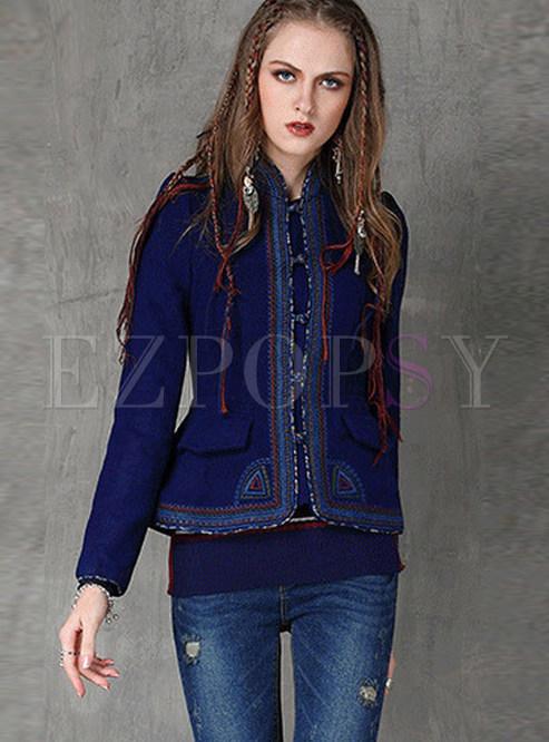 Mandarin Collar Slim Embroidered Woolen Coat