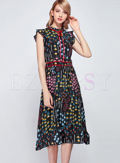 Fashion Standing Collar Tied Sleeveless Print Dress