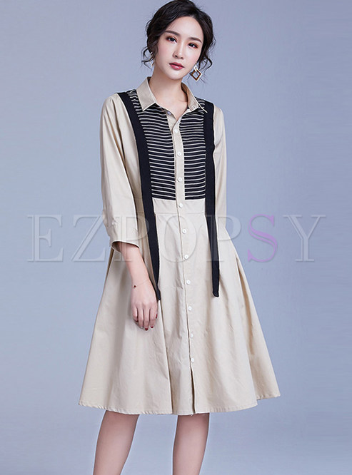 Color-blocked Lapel Striped Single-breasted Skater Dress