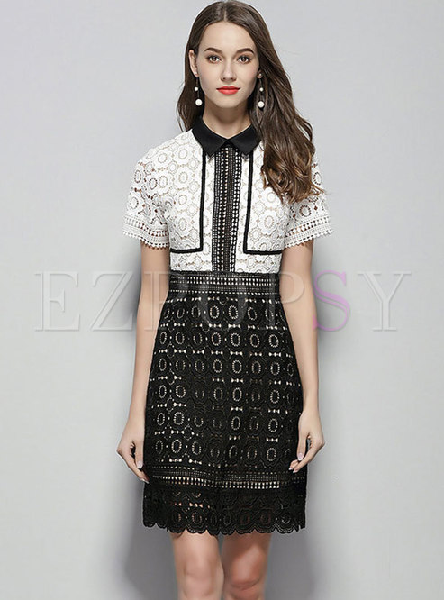 Color-blocked Lace Lapel High Waist Slim A Line Dress
