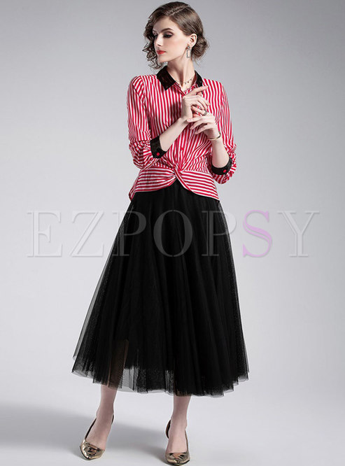 Striped Lapel Single-breasted Asymmetric Blouse & Gauze A Line Skirt